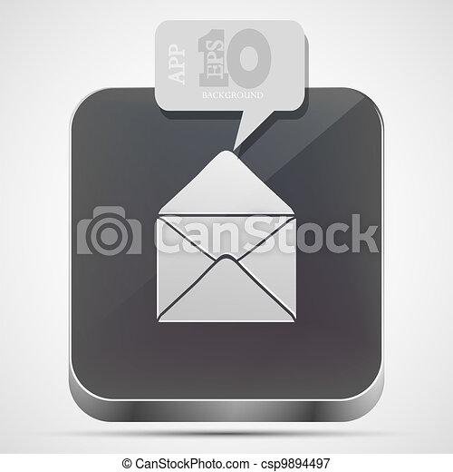 gråne, eps10, app, vektor, post, ikon, boble, speech. - csp9894497