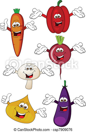 grønsag, karakter, cartoon - csp7909076