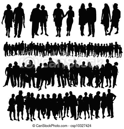 gruppe, folk, stor, par, vektor, silhuet - csp10327424