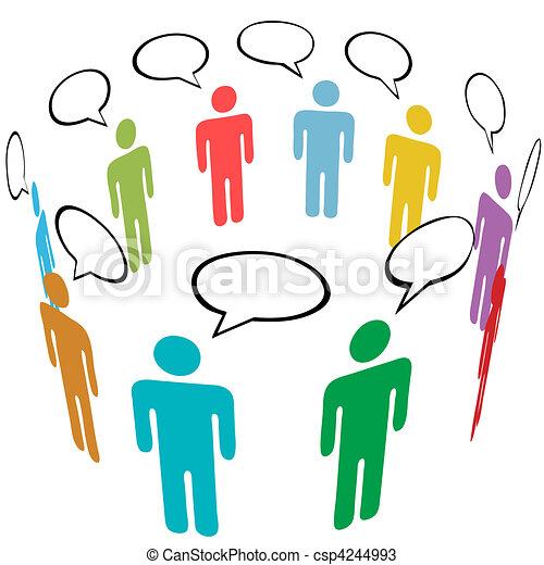 gruppe, netværk, folk, medier, symbol, farver, sociale, samtalen - csp4244993