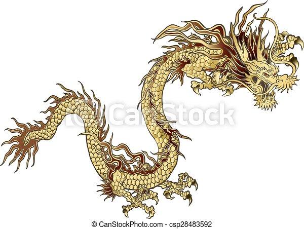 gylden, kinesisk drage - csp28483592