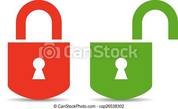 hængelås, åbn, aflukket - csp26538302