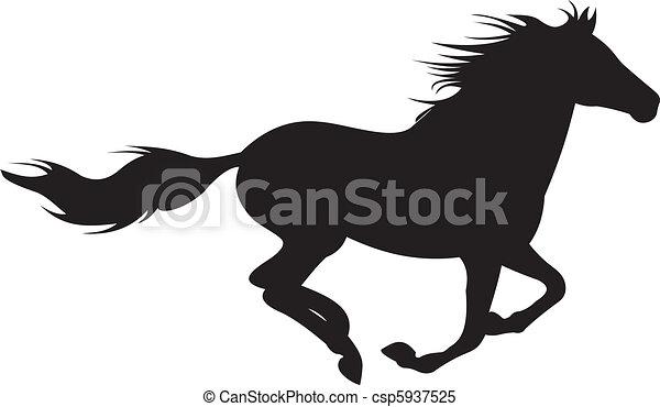 hest, vektor, silhuet - csp5937525