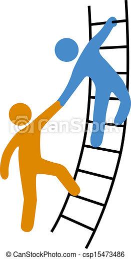 hjælper, stige, sammenvokse, oppe, folk - csp15473486
