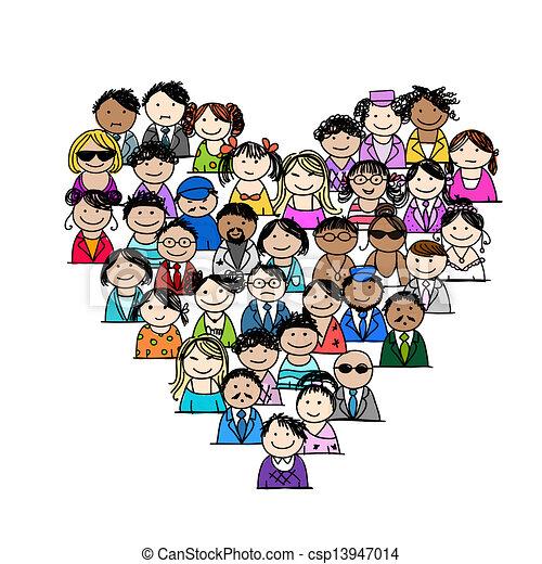 hjerte, folk, iconerne, facon, konstruktion, din - csp13947014