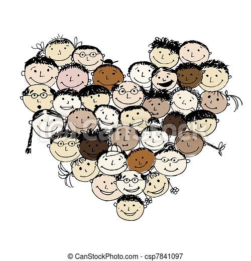 hjerte form, det peoples, konstruktion, din, glade - csp7841097