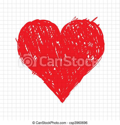 hjerte, skitse, facon, konstruktion, din, rød - csp3960696
