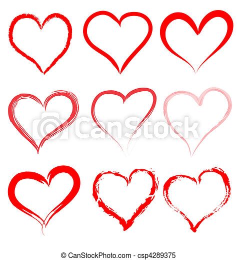 hjerte, valentines, valentine, vektor, hjerter, dag, rød - csp4289375