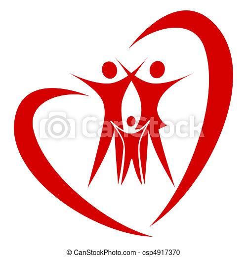 hjerte, vektor, familie - csp4917370