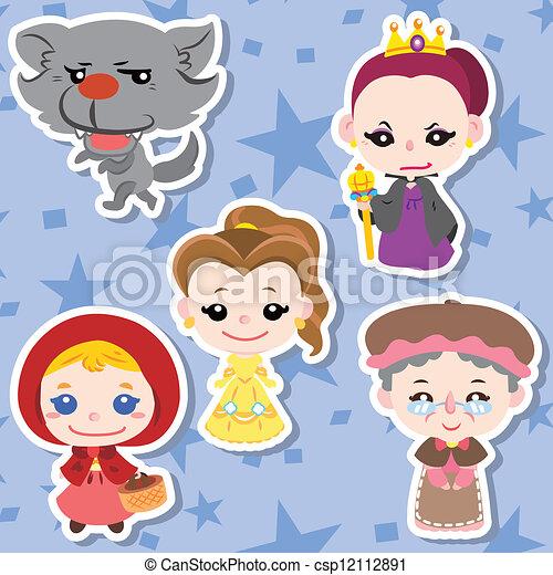 iconerne, cartoon, folk, historie - csp12112891