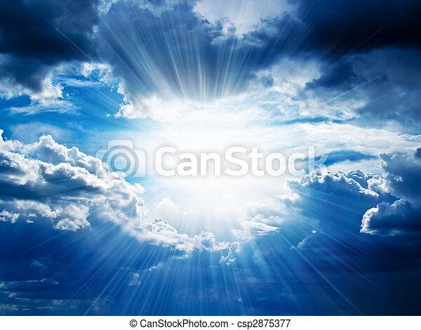 igennem, bryder, stråler, skyer, solskin - csp2875377