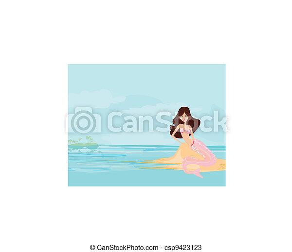 illustration, havfrue, smukke - csp9423123