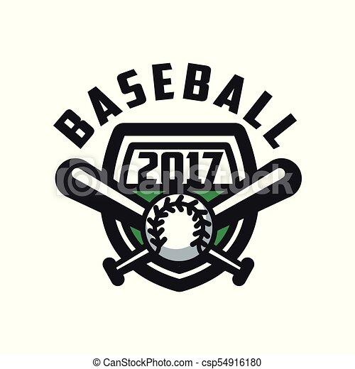 insignie, emblem, baseball, banner, by, emblem, illustration, element, vektor, konstruktion, baggrund, logo, etikette, 2017, hvid, skabelon - csp54916180