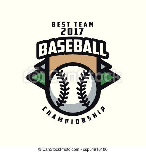 insignie, emblem, baseball, banner, by, logo, mesterskab, emblem, illustration, element, vektor, konstruktion, baggrund, hold, etikette, 2017, hvid, bedst, skabelon - csp54916186
