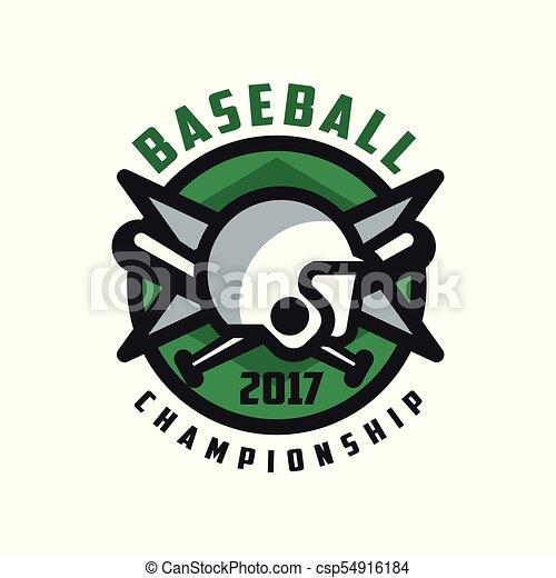 insignie, emblem, konstruktion, mesterskab, baseball, banner, by, farve, emblem, illustration, element, vektor, etikette, baggrund, grønne, 2017, hvid, logo - csp54916184