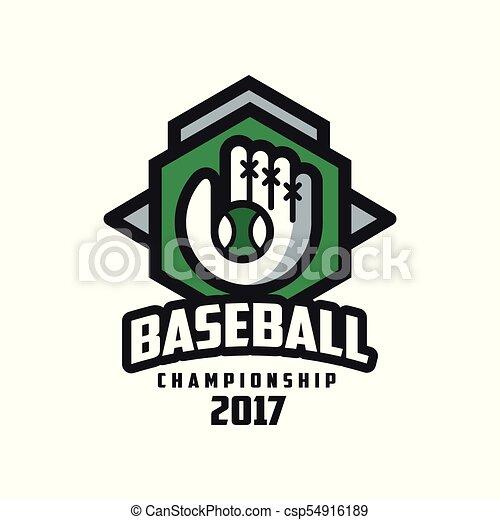 insignie, emblem, mesterskab, baseball, banner, by, emblem, illustration, element, vektor, etikette, baggrund, konstruktion, 2017, hvid, logo - csp54916189