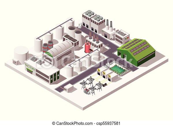 isometric, komposition, fabrik - csp55937581