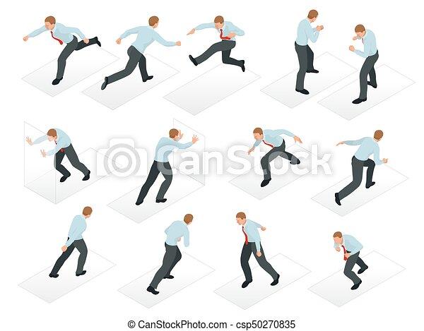 isometric, sæt, arbejder, folk branche, isolated., kontor., karakter, forskellige, design., 3, forretningsmand, opstille, mand - csp50270835