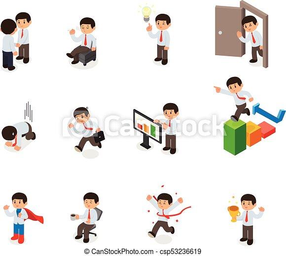 isometric, sæt, elements., cartoon, karakter, vektor, forretningsmand - csp53236619