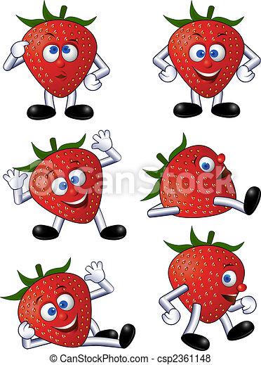 jordbær, cartoon - csp2361148