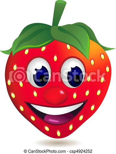 jordbær, karakter, cartoon - csp4924252