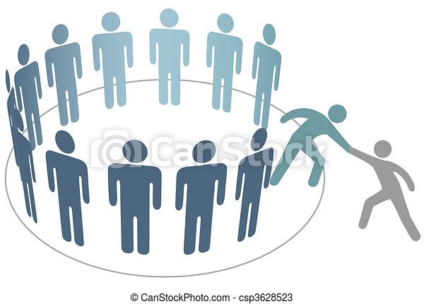 kammerat, folk, sammenvokse, hjælper, medlemmer, gruppe, selskab, hjælper - csp3628523