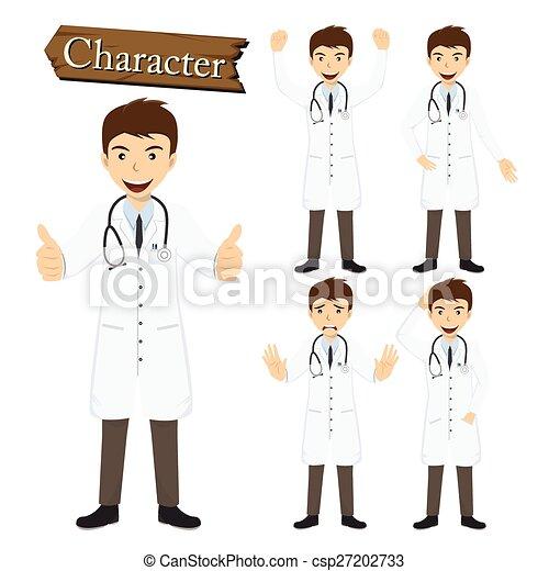 karakter, vektor, sæt, illustration, doktor - csp27202733