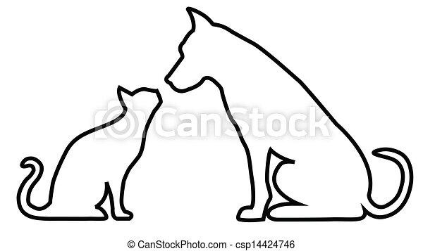 kat, komposition, hund - csp14424746