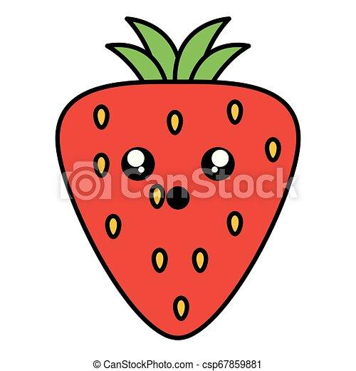 kawaii, jordbær, frugt, karakter, lækker - csp67859881