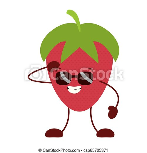 kawaii, jordbær, karakter, cartoon - csp65705371