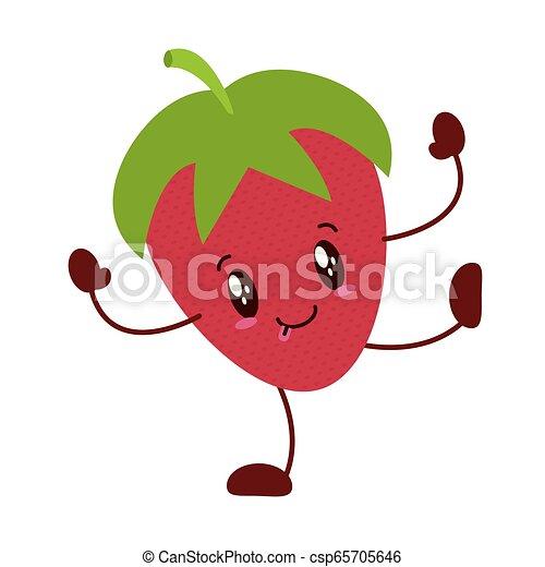 kawaii, jordbær, karakter, cartoon - csp65705646