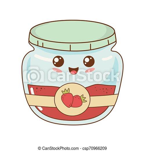 kawaii, jordbær, pot, syltetøj, karakter - csp70966209