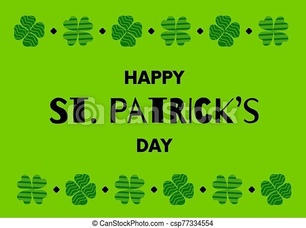kløver, leaves., vektor, shamrock, st.., border., design., patricks, banner, dag, lejlighed, cartoon, patterned, glade - csp77334554
