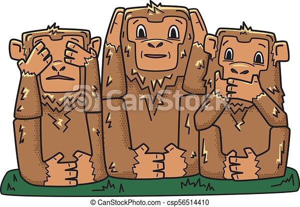 klog, illustration, monkeys., hemmelighedsfuld, nej, karakter, tre, isoleret, se, vektor, afhøre, evil., onde, tal, apes., white. - csp56514410