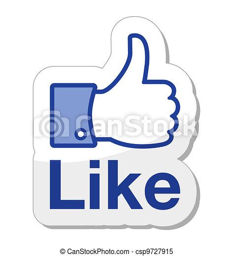 knap, facebook, det, ligesom - csp9727915