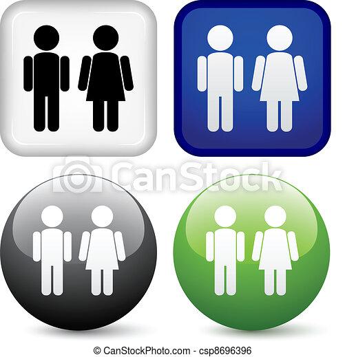 knapper, vektor, mandlig, kvindelig - csp8696396