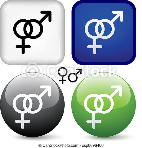 knapper, vektor, mandlig, kvindelig - csp8696400
