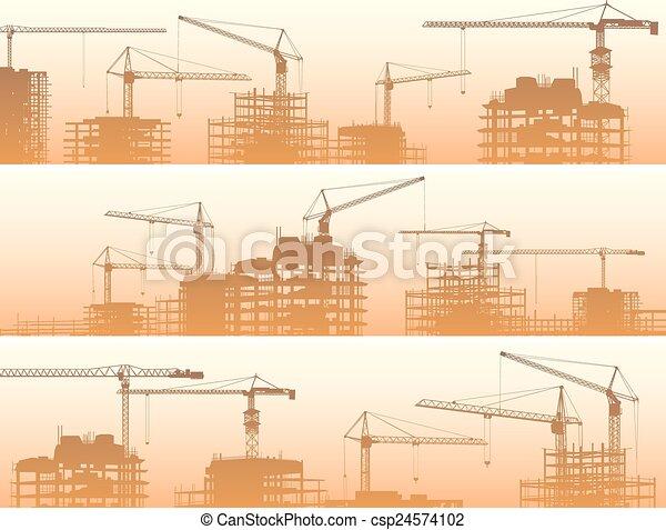 konstruktion, cranes., site - csp24574102