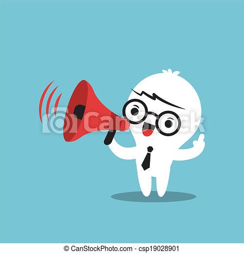 kundgørelse, firma, forarbejde, karakter, megafon, cartoon - csp19028901