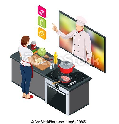 kvinde, køkkenchef, online, lektion, masterclass, professionel, undervisning, cooking., streaming, online., webinar, mens, hjem madlavning, isometric - csp84026051
