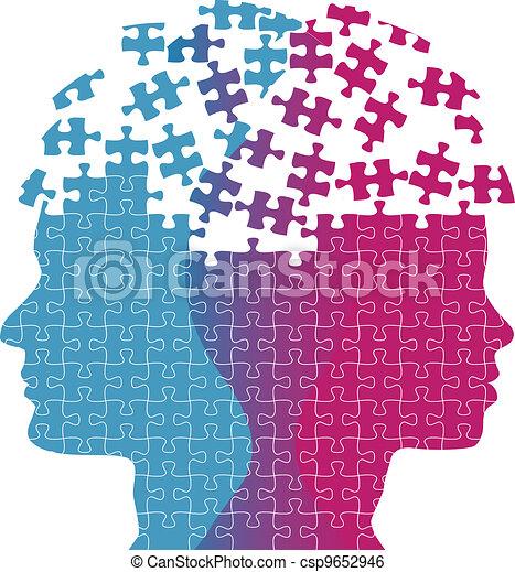kvinde, opgave, forstand, tanke, ansigter, problem, mand - csp9652946