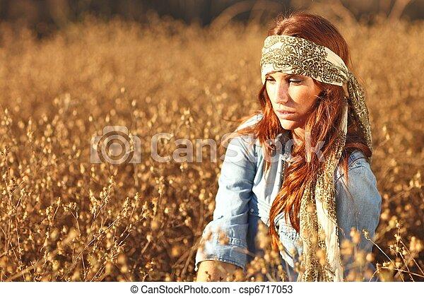 kvinde, summertime tid, felt, smukke - csp6717053