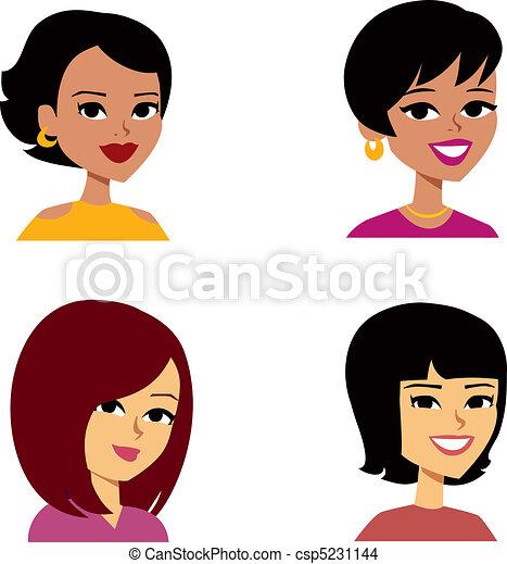 kvinder, cartoon, avatar, multi-ethnic - csp5231144