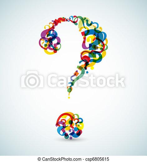 lavede, stor, spørgsmål marker, lille, mærkerne - csp6805615