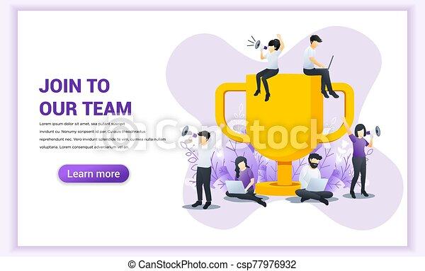 lejlighed, ledsagere, vektor, stor, succesrige, trofæ, members., concept., væv, banner, sammenvokse, illustration, work., hold, firma, kigge, nye, folk, vore - csp77976932