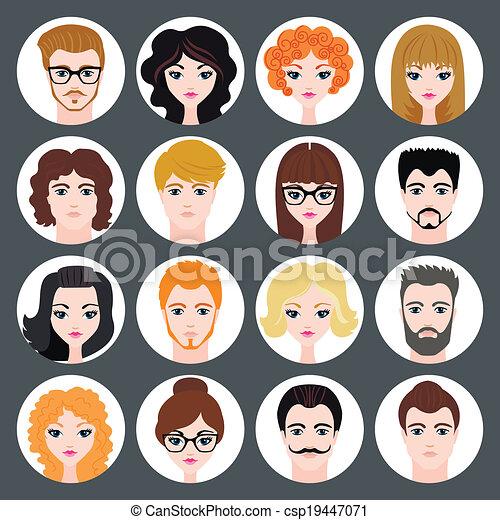 lejlighed, sæt, moderne, piger, avatars, vektor, konstruktion, stilfuld, guys - csp19447071
