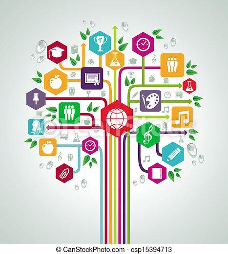 lejlighed, skole, netværk, iconerne, tilbage, træ., undervisning - csp15394713