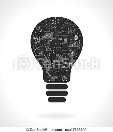 lightbulb, doodle, ide, kort, infographics, ikon - csp17835302