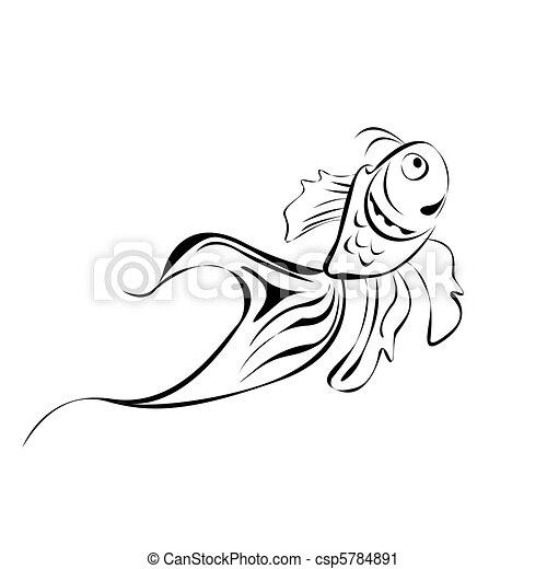 linje kunst, fish - csp5784891