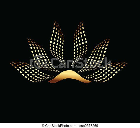 lotus, logo, selskab, guld - csp9378269